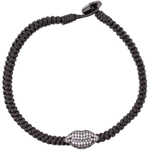 Lips black gold plated braided bracelet - GALLERIA ARMADORO