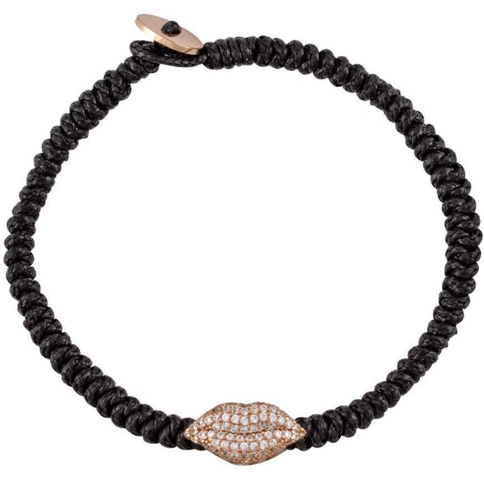 Lips pink gold plated braided bracelet - GALLERIA ARMADORO