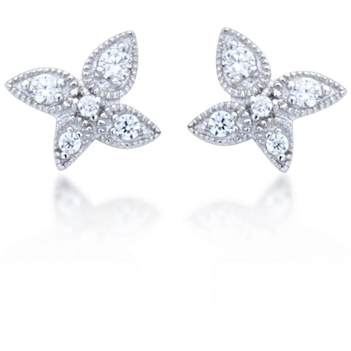 Lotus stud earrings white cz - GALLERIA ARMADORO