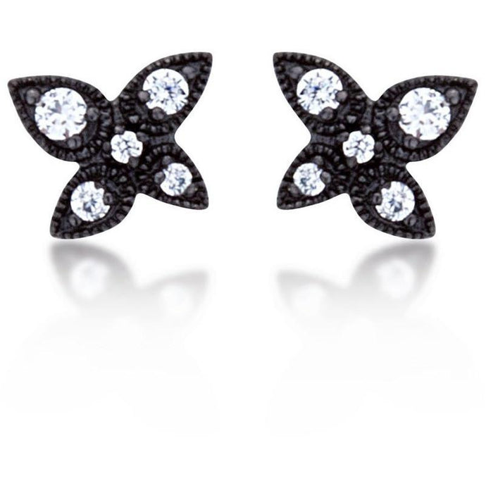 Lotus studs black gold plated with white cz - GALLERIA ARMADORO