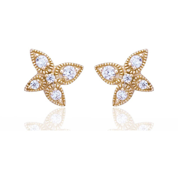 Lotus studs gold plated with white cz - GALLERIA ARMADORO
