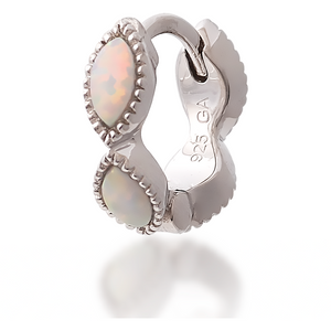 Marquise opal sterling silver huggie - GALLERIA ARMADORO
