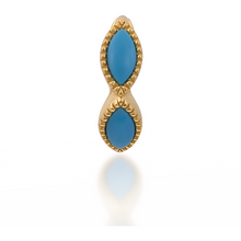 Load image into Gallery viewer, Marquise turquoise gold vermeil huggie - GALLERIA ARMADORO