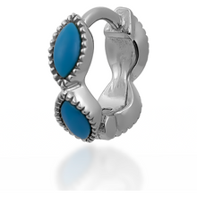 Load image into Gallery viewer, Marquise turquoise sterling silver huggie - GALLERIA ARMADORO