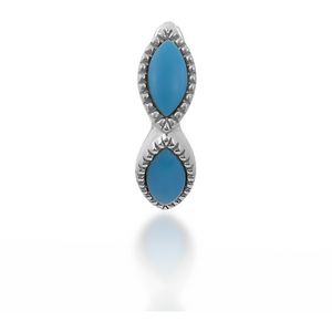 Marquise turquoise sterling silver huggie - GALLERIA ARMADORO