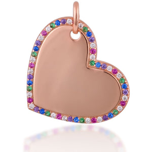 Mini heart pink gold plated tag charm - GALLERIA ARMADORO