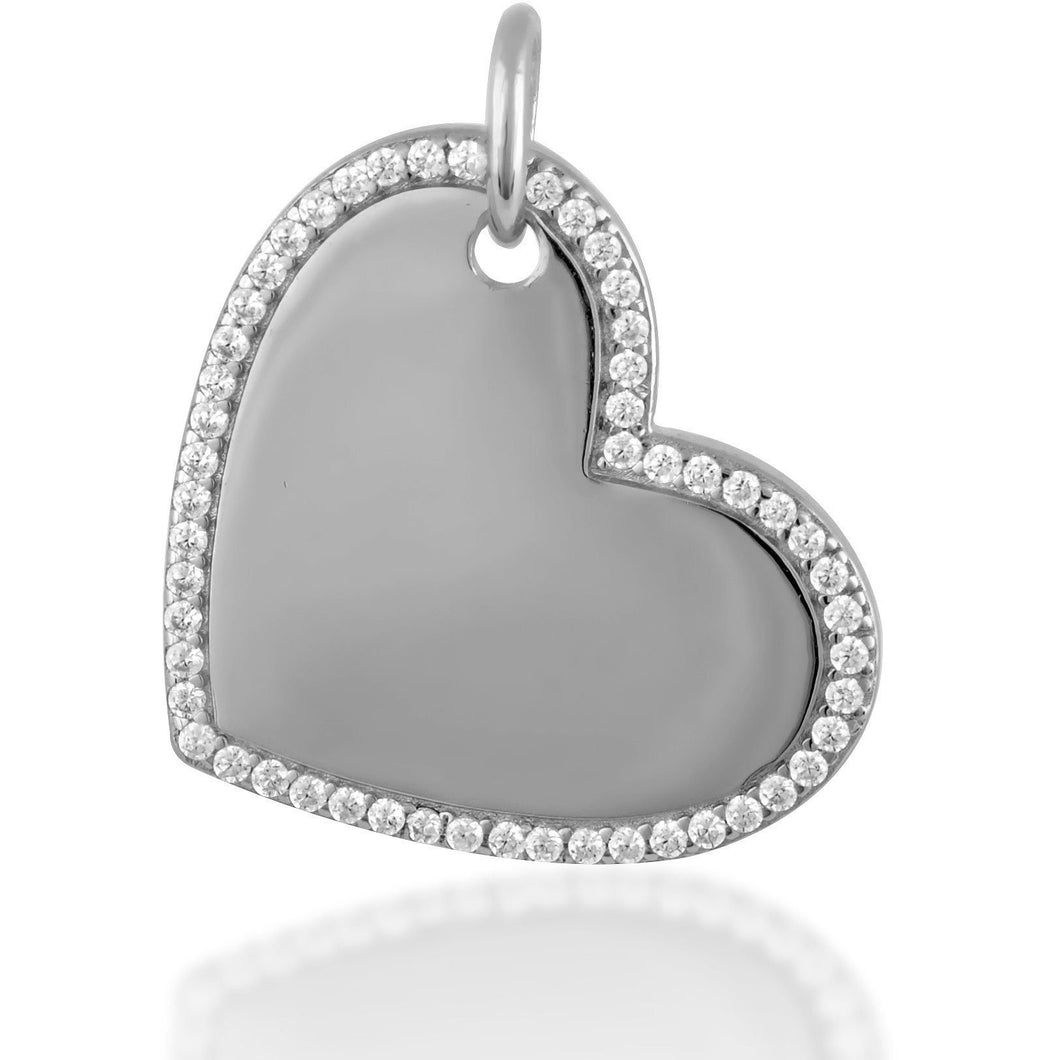 Mini heart tag charm in sterling silver - GALLERIA ARMADORO