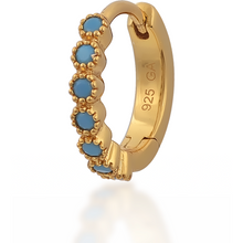 Load image into Gallery viewer, Multi dots turquoise gold vermeil huggie - GALLERIA ARMADORO
