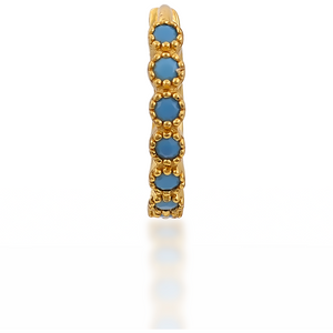 Multi dots turquoise gold vermeil huggie