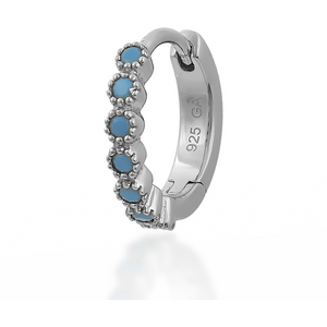 Multi dots turquoise sterling silver huggie - GALLERIA ARMADORO