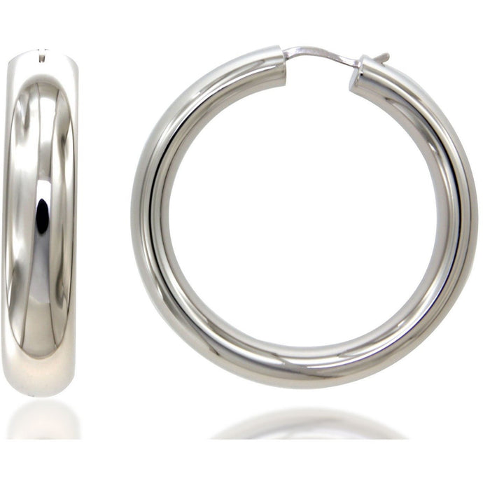Nanah 4 cm sterling silver hoops - GALLERIA ARMADORO