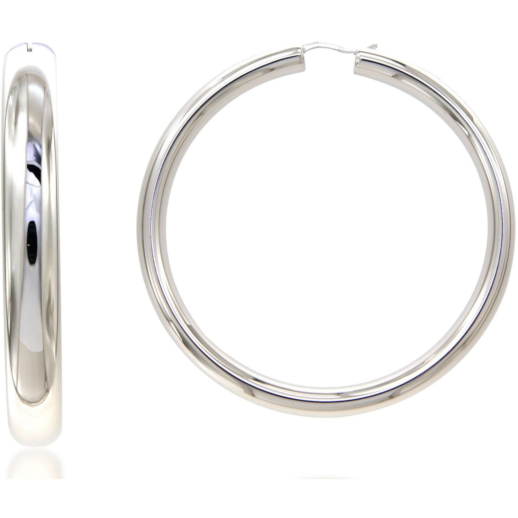 Nanah 6 cm sterling silver hoops - GALLERIA ARMADORO