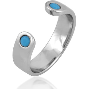 Open sterling silver  turquoise ring - GALLERIA ARMADORO
