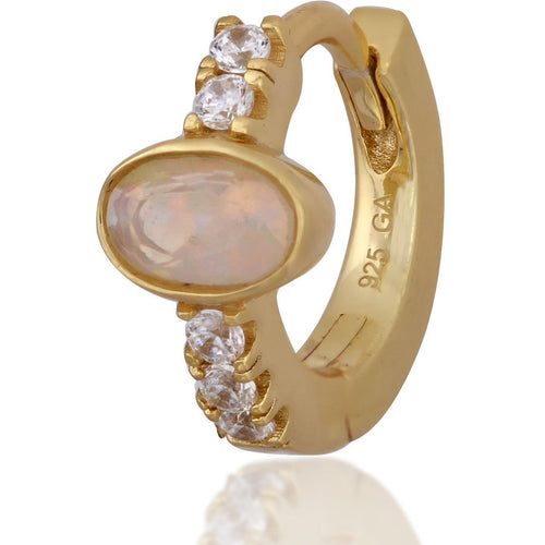 Oval opal stone gold vermeil  huggie - GALLERIA ARMADORO