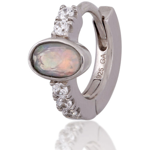 Oval opal stone sterling silver  huggie - GALLERIA ARMADORO