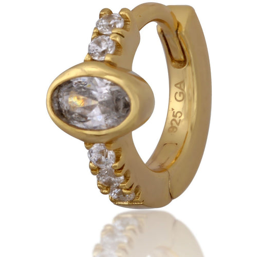 Oval stone gold vermeil huggie - GALLERIA ARMADORO