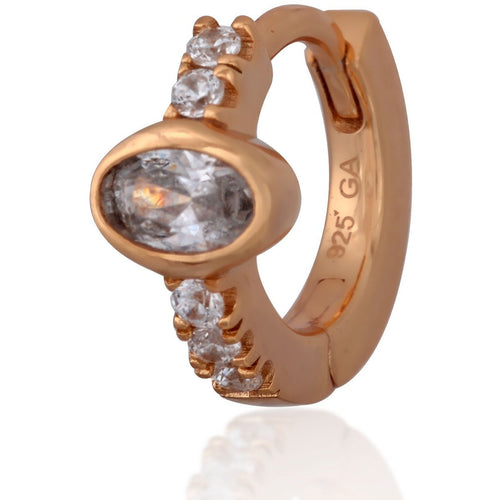 Oval stone pink gold vermeil huggie - GALLERIA ARMADORO