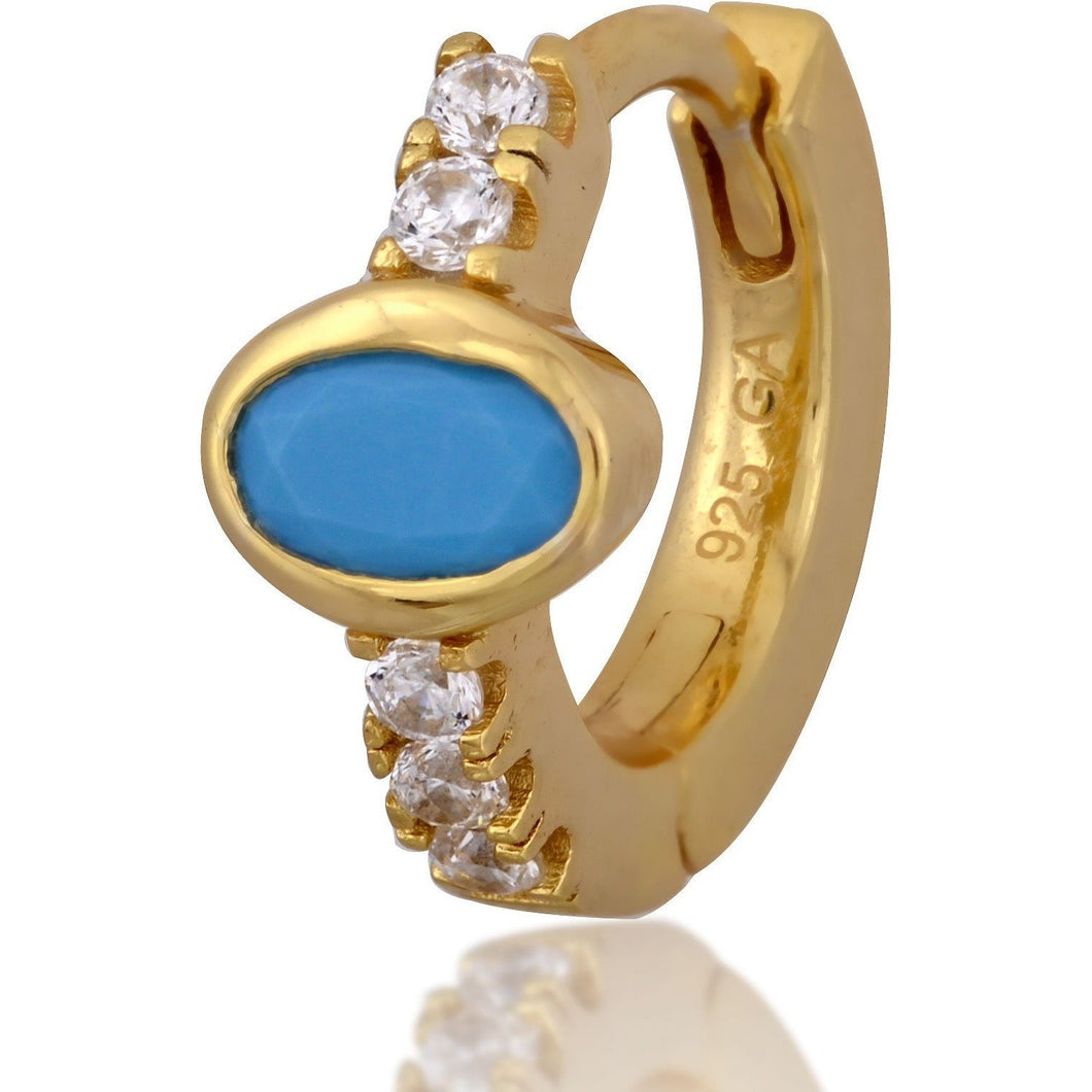 Oval turquoise stone gold vermeil huggie - GALLERIA ARMADORO