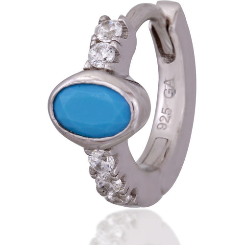 Oval turquoise stone sterling silver huggie - GALLERIA ARMADORO