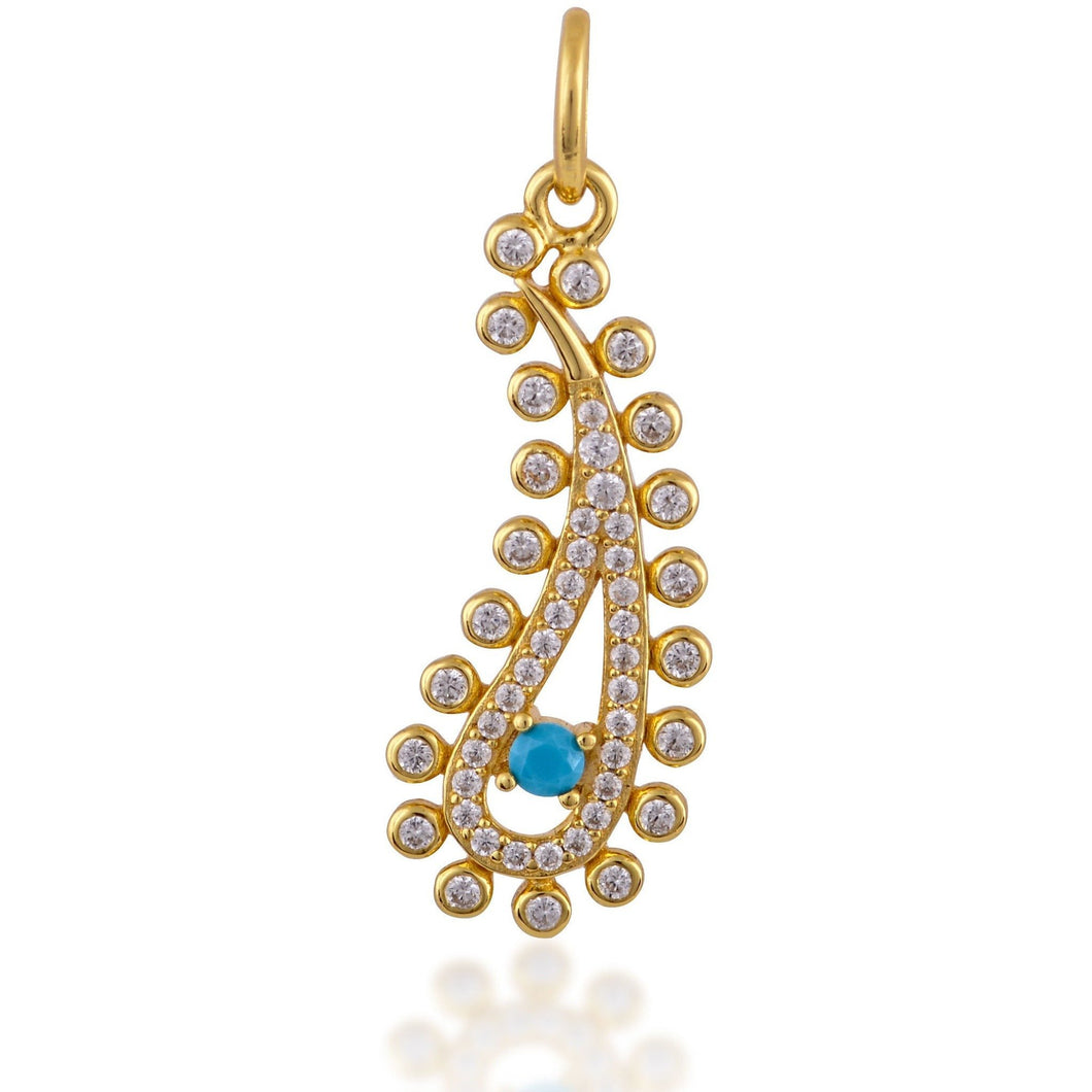Paisley evil eye turquoise gold plated charm - GALLERIA ARMADORO