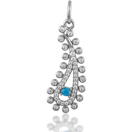 Paisley evil eye turquoise sterling silver charm - GALLERIA ARMADORO