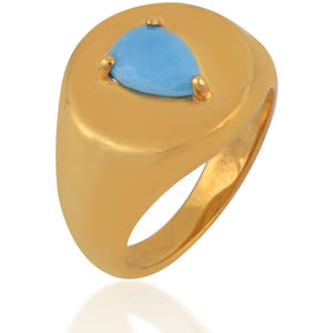 Poire turquoise gold plated signet ring - GALLERIA ARMADORO