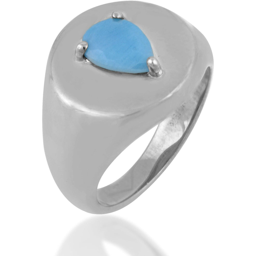 Poire turquoise sterling silver signet ring - GALLERIA ARMADORO