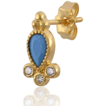 Load image into Gallery viewer, Poppy turquoise gold vermeil stud - GALLERIA ARMADORO