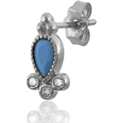Poppy turquoise sterling silver stud - GALLERIA ARMADORO
