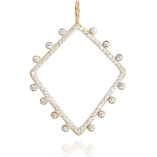 Rhombus white cz  gold plated pendant - GALLERIA ARMADORO
