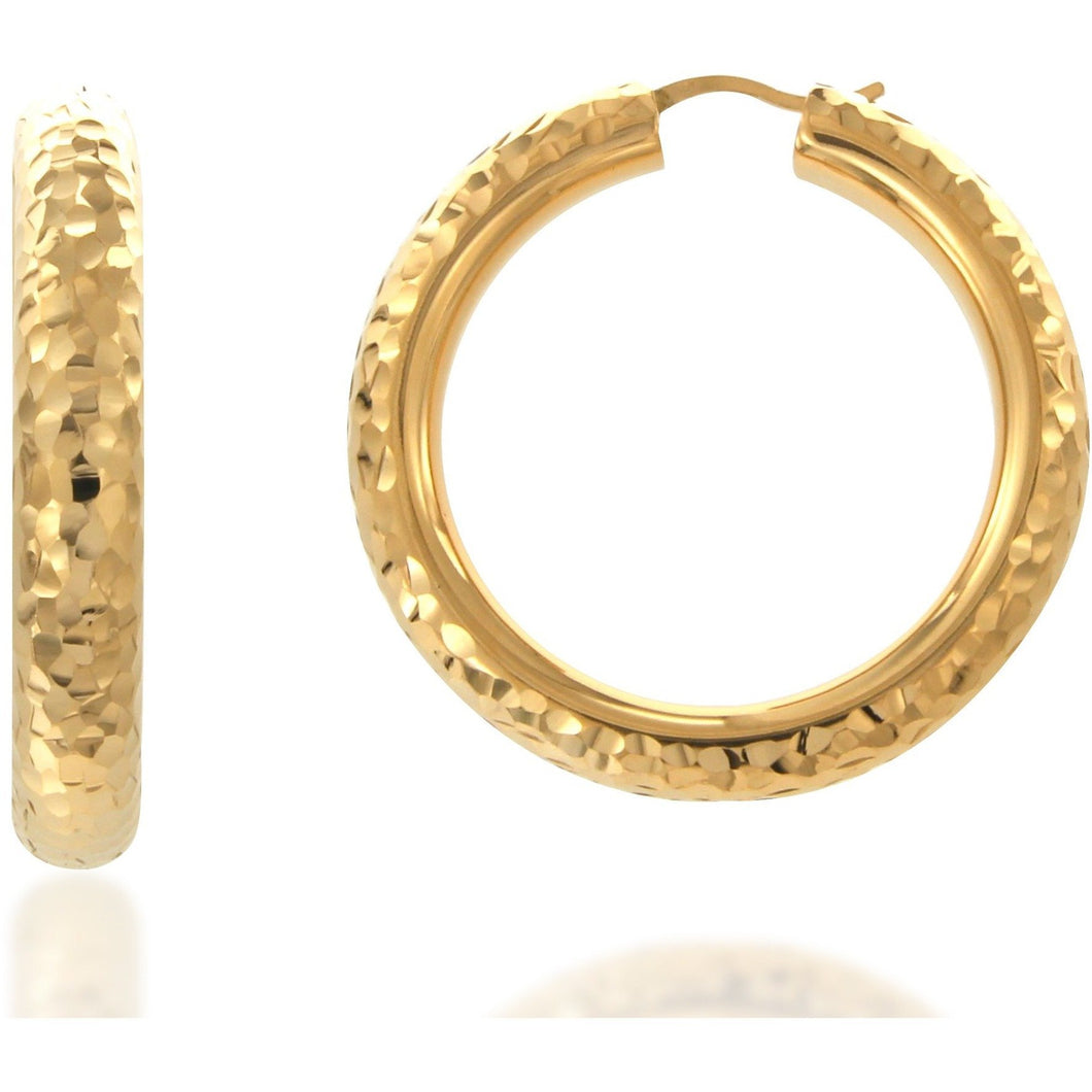 Rifa 4 cm gold plated hoops - GALLERIA ARMADORO
