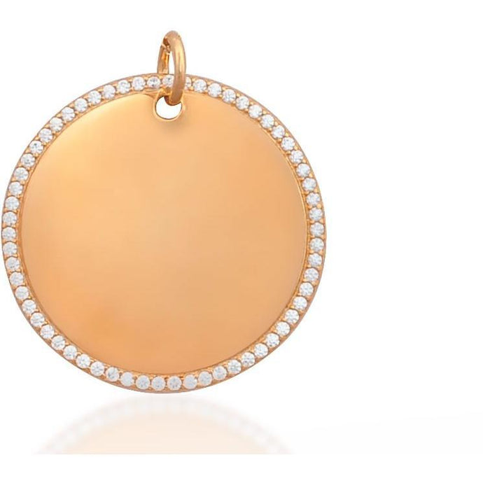 Round tag pink gold vermeil charm - GALLERIA ARMADORO