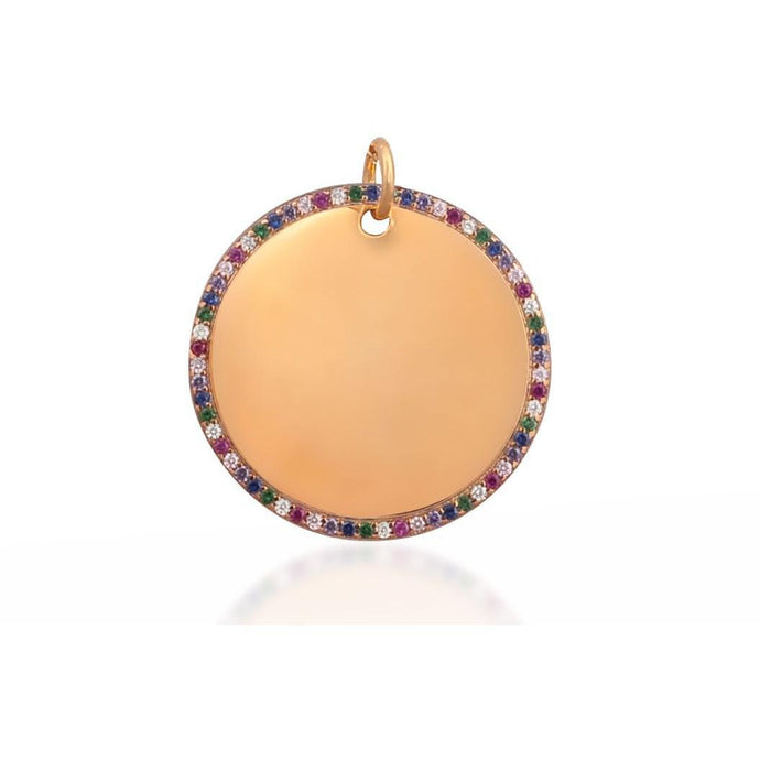 Round tag pink gold vermeil multicoloured cz charm - GALLERIA ARMADORO