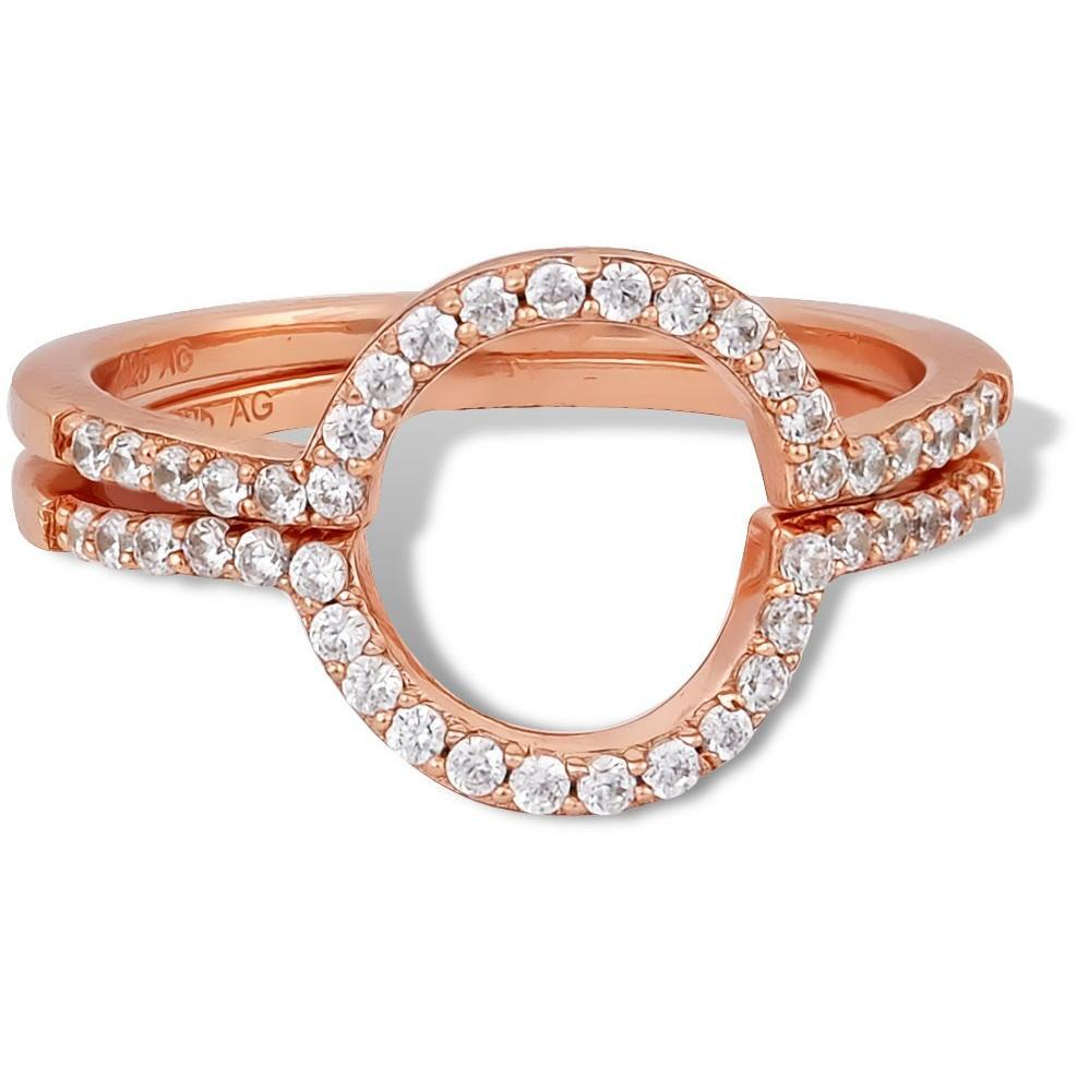 Set of 2 oval pink gold vermeil pave rings - GALLERIA ARMADORO
