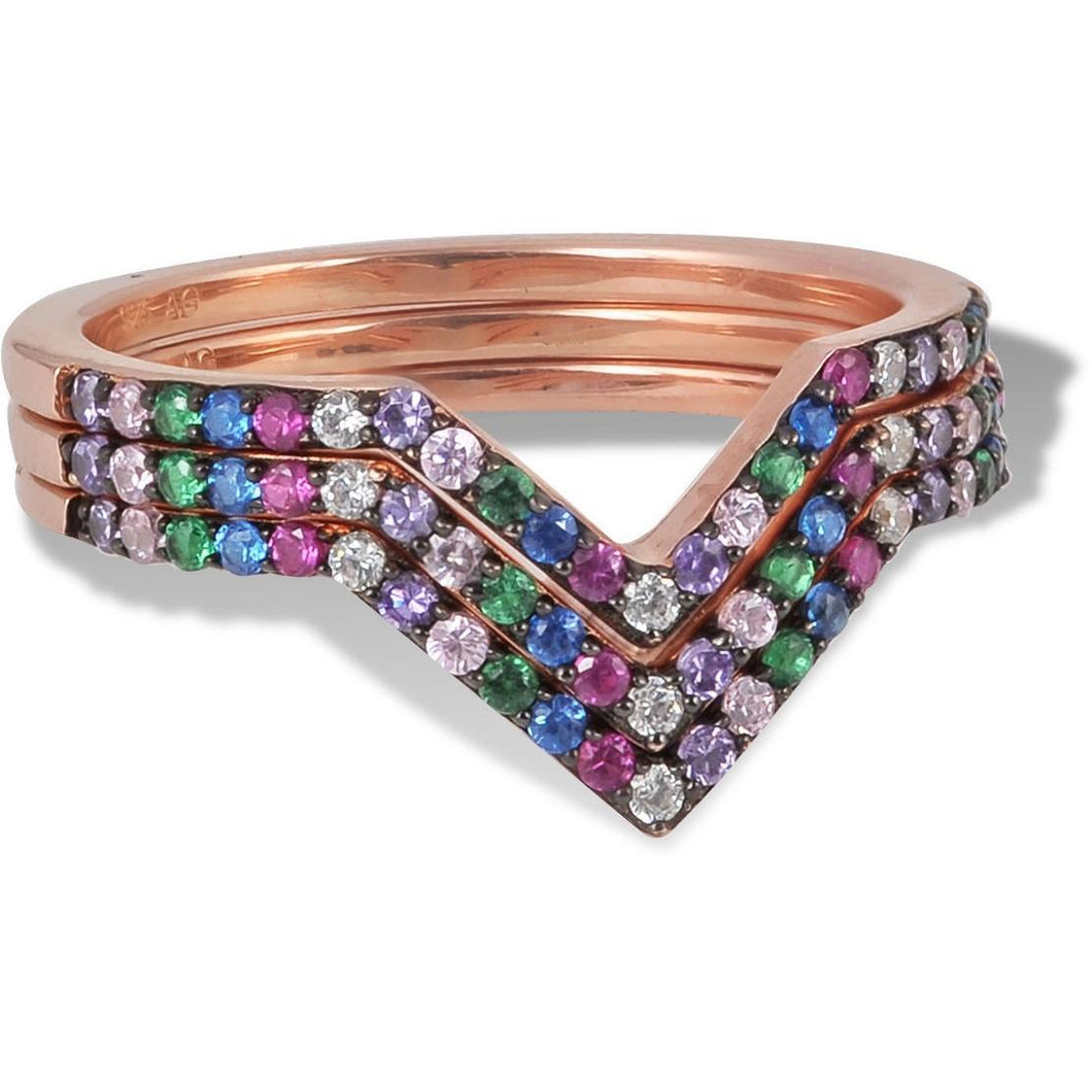 Set of 3 V rings multi coloured cz pave - GALLERIA ARMADORO