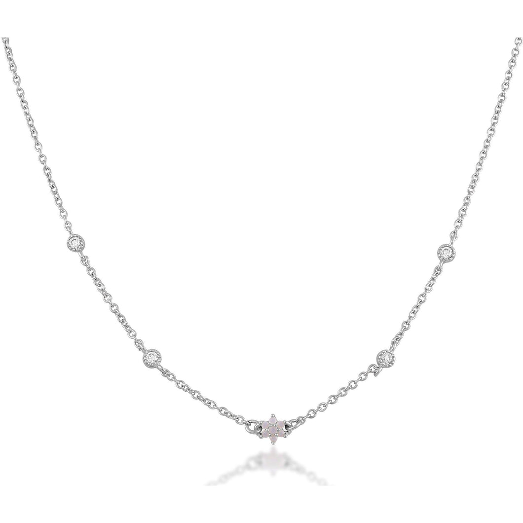 Shaker flower opal sterling silver necklace - GALLERIA ARMADORO