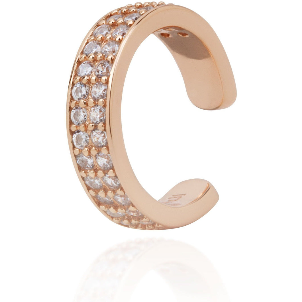 Simple ear cuff with white pave gold plated - GALLERIA ARMADORO