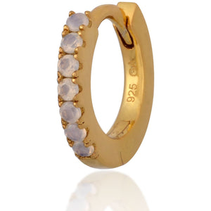 Simple gold vermeil opal  huggie - GALLERIA ARMADORO