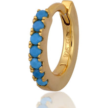 Load image into Gallery viewer, Simple gold vermeil turquoise  huggie - GALLERIA ARMADORO