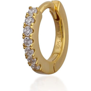 Simple pave gold vermeil huggie - GALLERIA ARMADORO