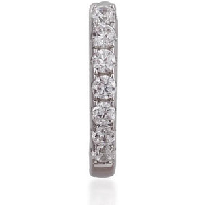 Simple pave sterling silver huggie - GALLERIA ARMADORO