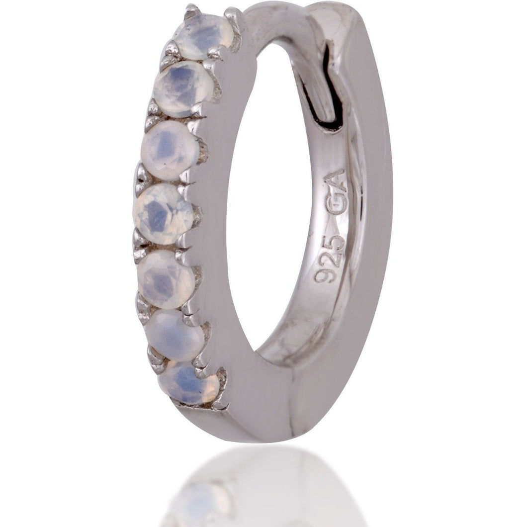 Simple sterling silver opal  huggie - GALLERIA ARMADORO