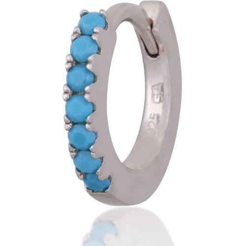 Simple sterling silver turquoise  huggie - GALLERIA ARMADORO
