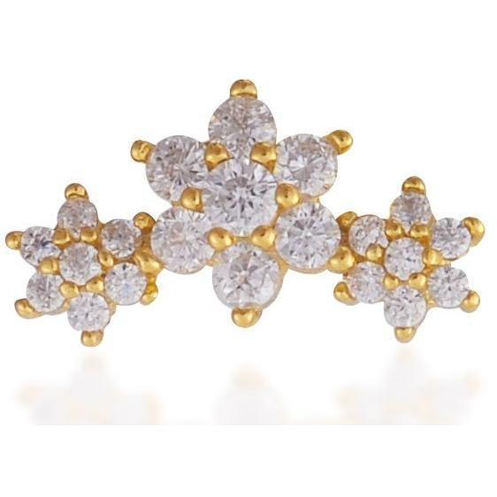 Single 3 flowers gold vermeil stud earring - GALLERIA ARMADORO