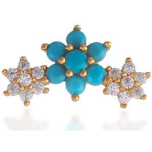 Load image into Gallery viewer, Single 3 flowers gold vermeil turquoise & white stones stud earring - GALLERIA ARMADORO