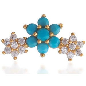 Single 3 flowers gold vermeil turquoise & white stones stud earring - GALLERIA ARMADORO