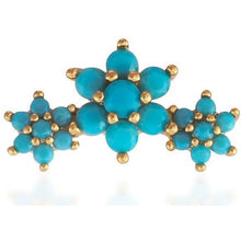 Load image into Gallery viewer, Single 3 flowers gold vermeil turquoise stones stud earring - GALLERIA ARMADORO