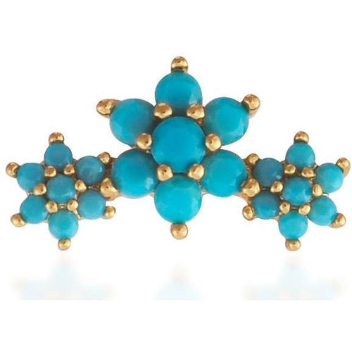 Single 3 flowers gold vermeil turquoise stones stud earring - GALLERIA ARMADORO