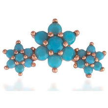 Load image into Gallery viewer, Single 3 flowers pink gold vermeil turquoise stones stud earring - GALLERIA ARMADORO