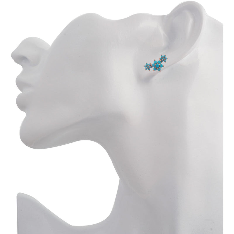 Single 3 flowers pink gold vermeil turquoise stones stud earring - GALLERIA ARMADORO